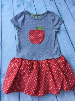 Mini Boden grey applique apple dress with red polka dot lined skirt age 2-3